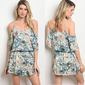 Floral Print Romper with Cold Shoulder